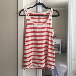 3/$25 J. crew red/off white striped tank top Sz S